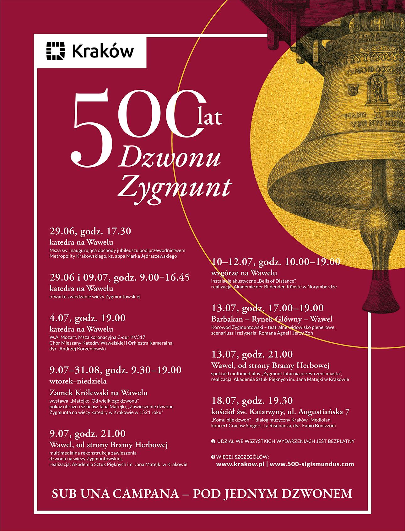 500 lat Dzwonu Zygmunt - afisz zpełnym programem wydarzeń Miasta Kraków